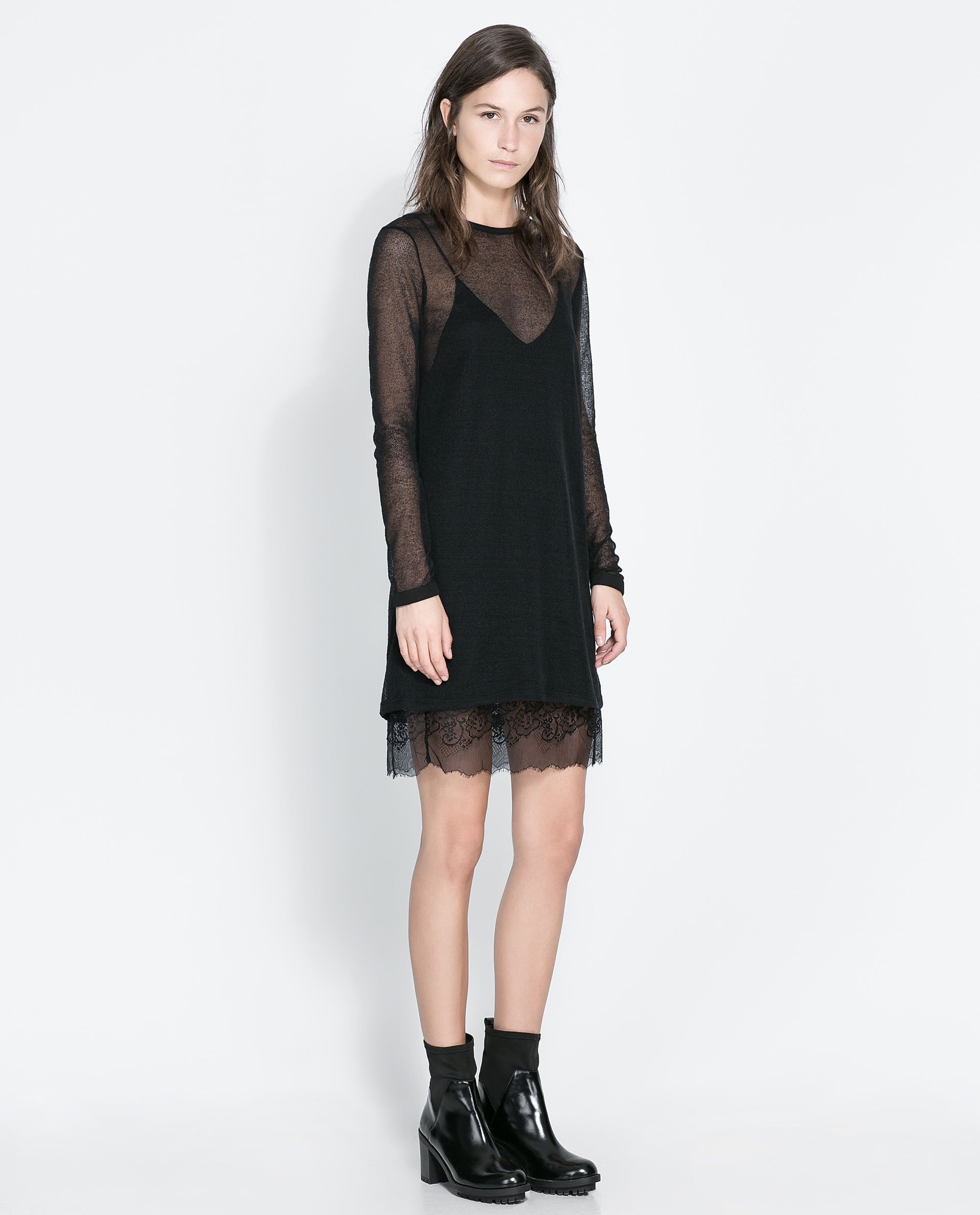Galerry slip dress with lace bottom