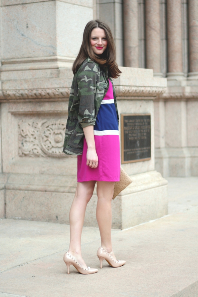 Le Tote Dress with Camo Jacket