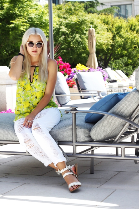 neon floral tank top from LE TOTE