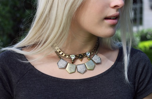 Layered LE TOTE necklaces
