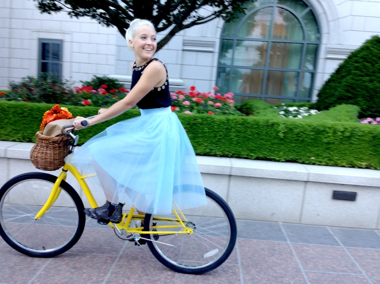 Baby Blue Tulle Skirt and a LE TOTE BB Dakota Grommet Top