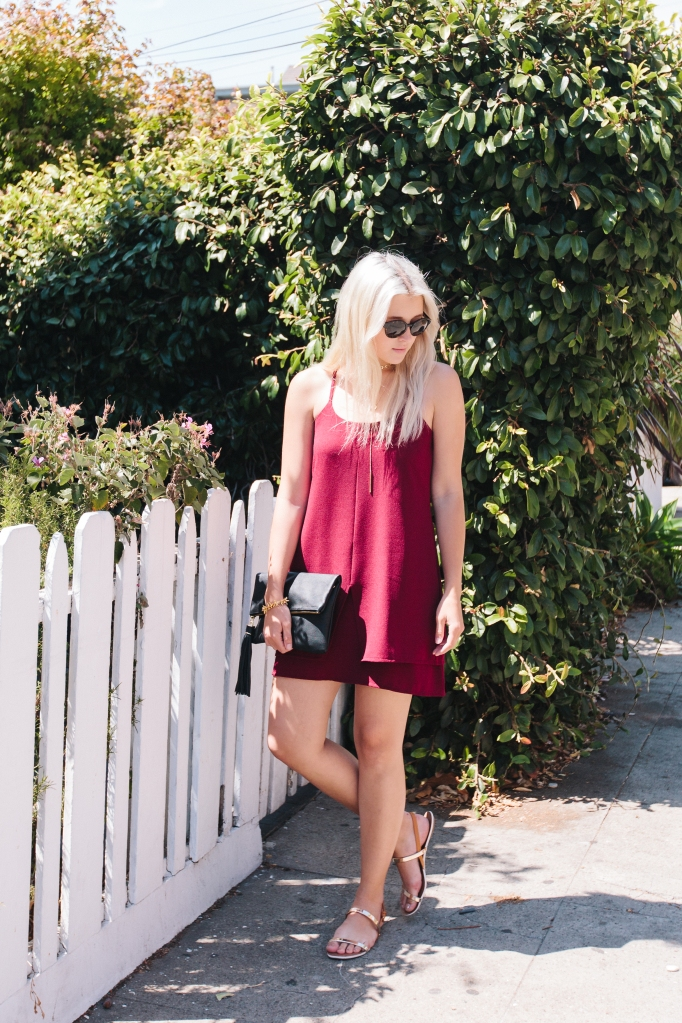 Red LE TOTE dress