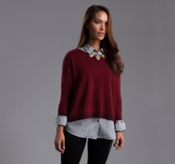 A maroon cropped sweater is the perfect way to wear Marsala Shades at work!