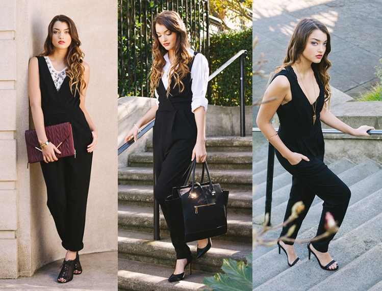 LE TOTE | How To Style a French Connection Jumpsuit 3 Different Ways