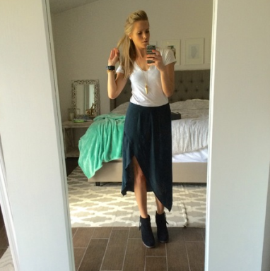 Emily in our Asymmetrical Skirt by Gentle Fawn