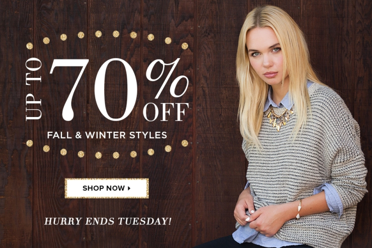 LE TOTE's Biggest Sale Ever! Up to 70% off Fall and Winter Styles. Clothing and Jewelry starting at $6