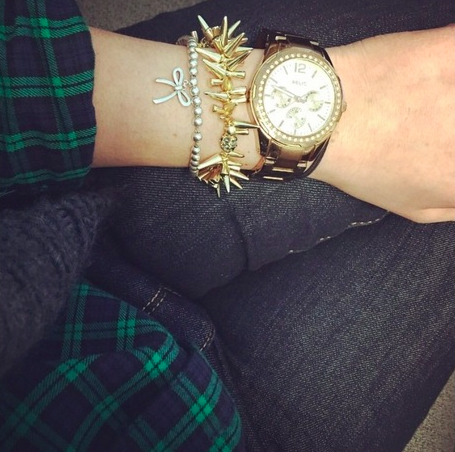 Pairing our Estelle Charm Bracelet with a watch makes for an inspired arm party.