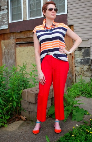 Pairing our Electric Sailor Blouse with another bright piece was a stroke of inspiration!