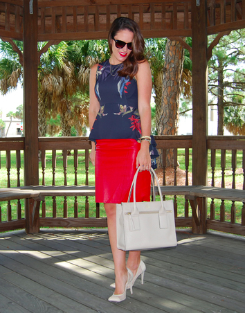 Our Fusion Peplum Top + Red Pencil Skirt = Genius