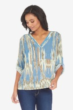 Collective Concepts Roll Tab Printed Blouse